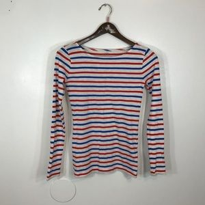 J Crew Striped Crew Neck Long Sleeve Top